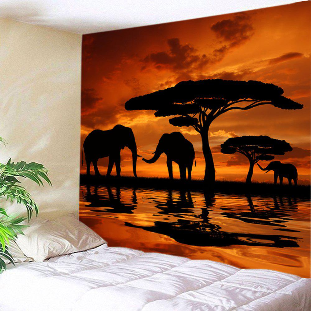 Sunset Prairies Elephants Print Tapestry Wall Hanging Art - ORANGE W91 INCH * L71 INCH