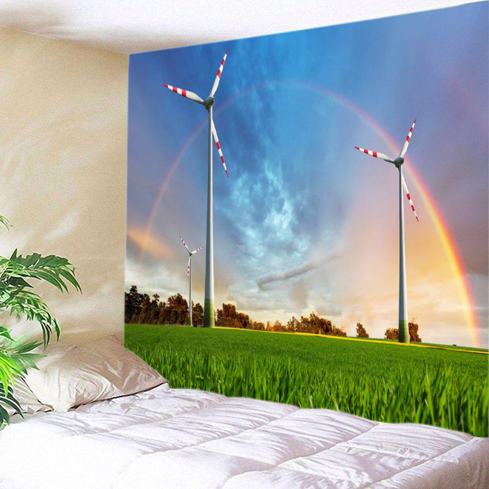 Grasslands Windmill Rainbow Print Tapestry Wall Hanging Art - COLORMIX W91 INCH * L71 INCH