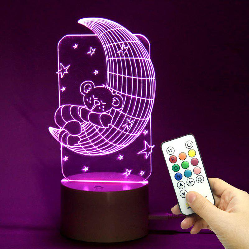 3D Sleeping Bear Moon Shape Color Change Remote Control Light - TRANSPARENT