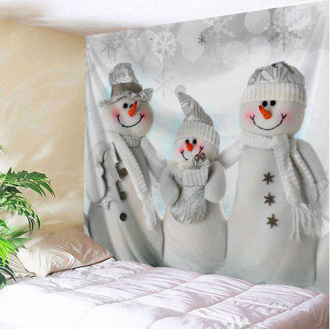 Christmas Snowmen Family Print Tapestry Wall Hanging Art - GREY WHITE W91 INCH * L71 INCH