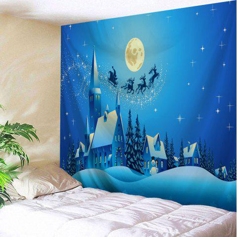 Christmas Night Castle Print Tapestry Wall Hanging Art - BLUE W79 INCH * L71 INCH