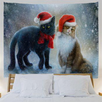 Christmas Hat Cats Print Tapestry Wall Hanging Art - COLORMIX W79 INCH * L59 INCH