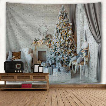 Christmas Tree Saloon Print Tapestry Wall Hanging Art - COLORMIX W79 INCH * L71 INCH