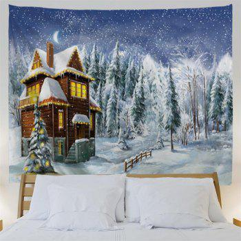 Noël Snowy Forest House Print Tapisserie Wall Hanging Art - multicolorcolore W79 INCH * L71 INCH