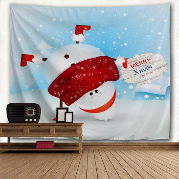 Christmas Handstand Snowman Print Tapestry Wall Hanging Art - multicolorcolore W91 INCH * L71 INCH