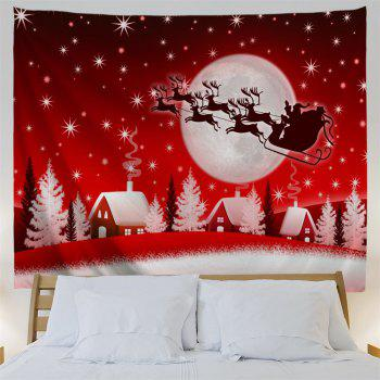 Christmas Sleigh Village Print Tapisserie Wall Hanging Art - Rouge W59 INCH * L51 INCH