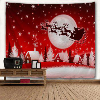 Christmas Sleigh Village Print Tapisserie Wall Hanging Art - Rouge W79 INCH * L71 INCH