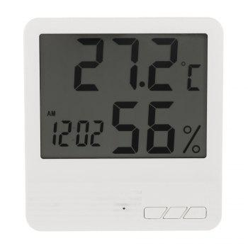 Indoor LCD Digital Electronic Thermometer Hygrometer Clock - WHITE WHITE