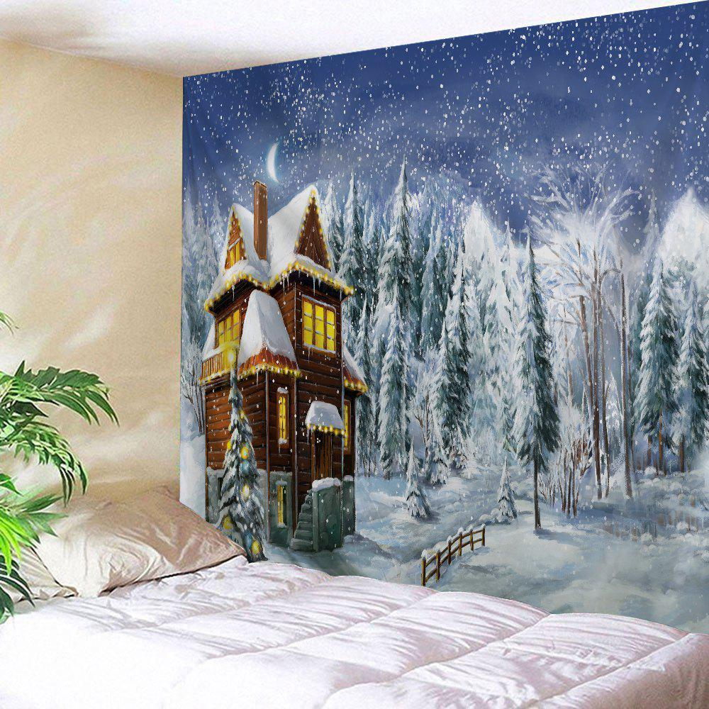 Christmas Snowy Forest House Print Tapestry Wall Hanging Art forest wooden bridge print tapestry wall hanging art