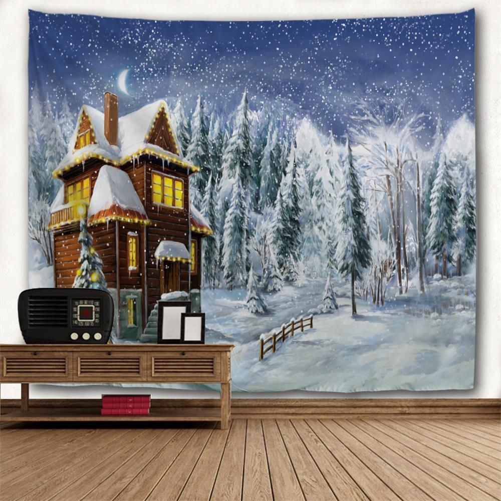 Noël Snowy Forest House Print Tapisserie Wall Hanging Art - multicolorcolore W91 INCH * L71 INCH