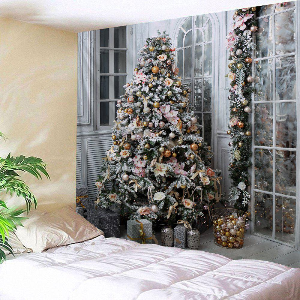 Christmas Tree Presents Print Tapestry Wall Hanging Decor christmas tree snowman printed wall tapestry