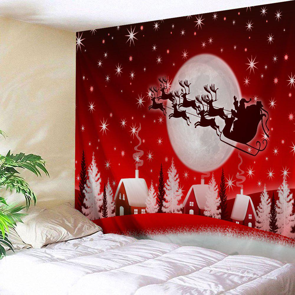 Christmas Sleigh Village Print Tapestry Wall Hanging Art