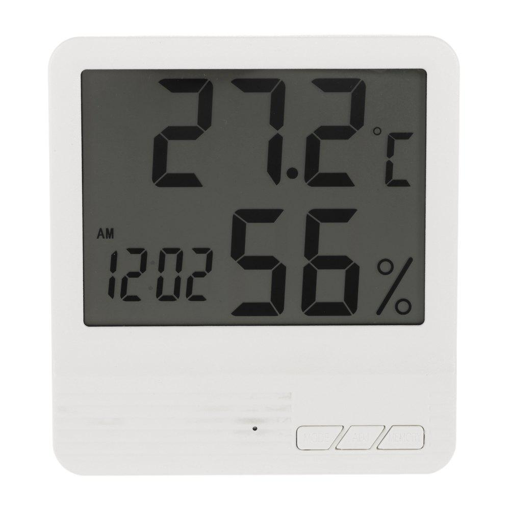 Indoor LCD Digital Electronic Thermometer Hygrometer Clock - WHITE