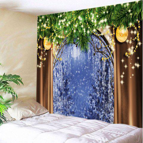 Christmas Tree Window Print Tapestry Wall Hanging Art - COLORMIX W91 INCH * L71 INCH