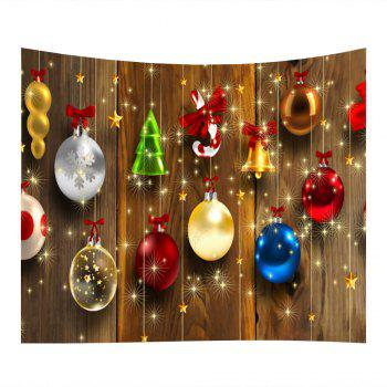 Woodgrain Christmas Baubles Print Tapestry Wall Hanging Art - COLORMIX W59 INCH * L59 INCH