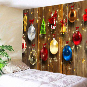 Woodgrain Christmas Baubles Print Tapestry Wall Hanging Art - COLORMIX W79 INCH * L71 INCH