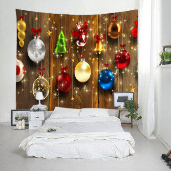 Woodgrain Christmas Baubles Print Tapestry Wall Hanging Art - COLORMIX W91 INCH * L71 INCH