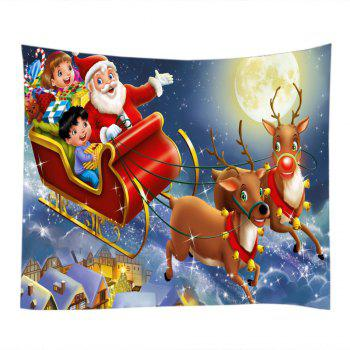 Christmas Moon Deer Sleigh Print Tapestry Wall Hanging Art - RED W79 INCH * L71 INCH