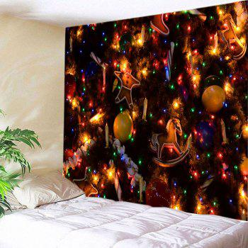 Christmas Tree Ornaments Print Tapestry Wall Hanging Art - COLORMIX W91 INCH * L71 INCH