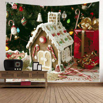 Christmas Tree House Print Tapestry Wall Hanging Art - WHITE WHITE