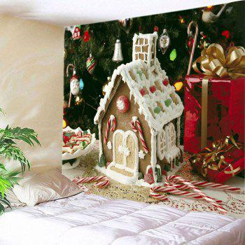 Christmas Tree House Print Tapestry Wall Hanging Art - WHITE W79 INCH * L71 INCH