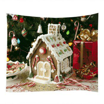 Christmas Tree House Print Tapestry Wall Hanging Art - WHITE W91 INCH * L71 INCH