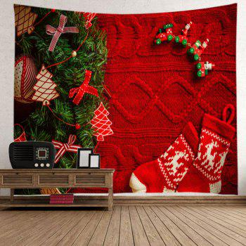 Christmas Tree Stockings Print Tapestry Wall Hanging Art - RED RED