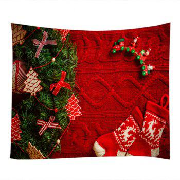 Christmas Tree Stockings Print Tapestry Wall Hanging Art - RED W79 INCH * L59 INCH