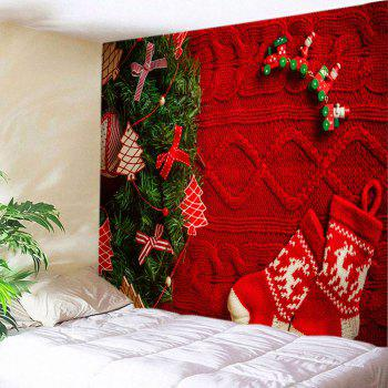 Christmas Tree Stockings Print Tapestry Wall Hanging Art - RED W79 INCH * L71 INCH
