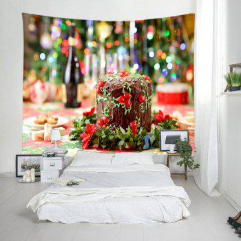 Christmas Cake Print Tapestry Wall Hanging Art - COLORMIX W79 INCH * L59 INCH