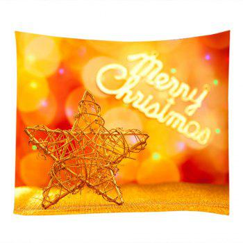 Christmas Wooden Star Print Tapestry Wall Hanging Art - MANDARIN W79 INCH * L59 INCH