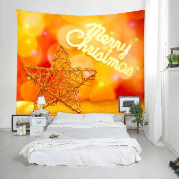 Christmas Wooden Star Print Tapestry Wall Hanging Art - MANDARIN MANDARIN