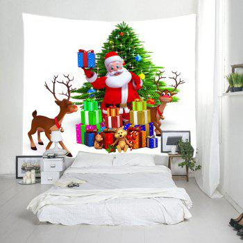 Christmas Tree Santa Gifts Print Tapestry Wall Hanging Art - COLORMIX W79 INCH * L59 INCH