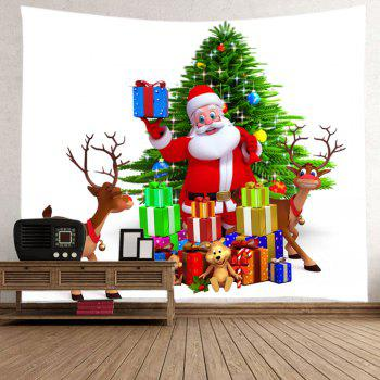 Christmas Tree Santa Gifts Print Tapestry Wall Hanging Art - COLORMIX W91 INCH * L71 INCH