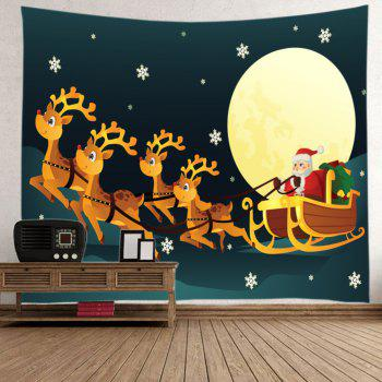 Christmas Moon Santa Sleigh Print Tapestry Wall Hanging Art - COLORMIX W59 INCH * L59 INCH