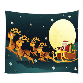Christmas Moon Santa Sleigh Print Tapestry Wall Hanging Art - W59 INCH * L59 INCH W59 INCH * L59 INCH