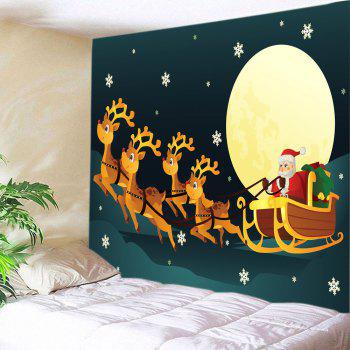 Christmas Moon Santa Sleigh Print Tapestry Wall Hanging Art - COLORMIX W91 INCH * L71 INCH