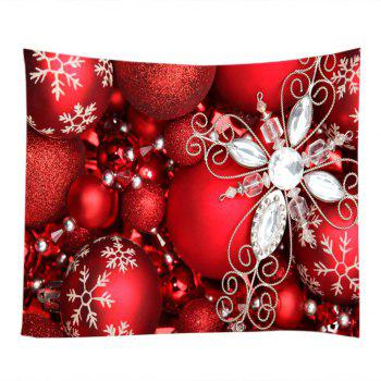 Christmas Rhinestone Baubles Print Tapestry Wall Hanging Art - RED W59 INCH * L51 INCH