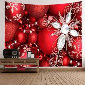 Christmas Rhinestone Baubles Print Tapestry Wall Hanging Art - RED RED