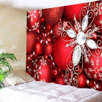 Christmas Rhinestone Baubles Print Tapestry Wall Hanging Art - RED W91 INCH * L71 INCH