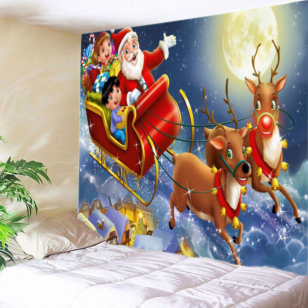 Christmas Moon Deer Sleigh Print Tapestry Wall Hanging Art - RED W91 INCH * L71 INCH