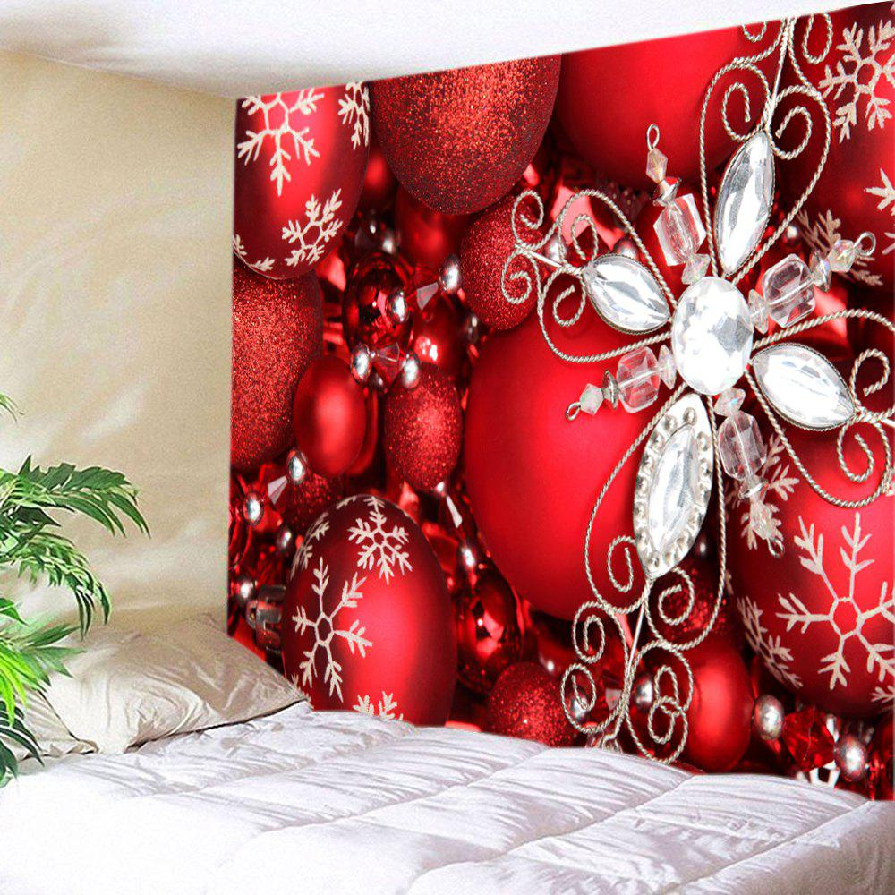 Christmas Rhinestone Baubles Print Tapestry Wall Hanging Art - RED W79 INCH * L71 INCH