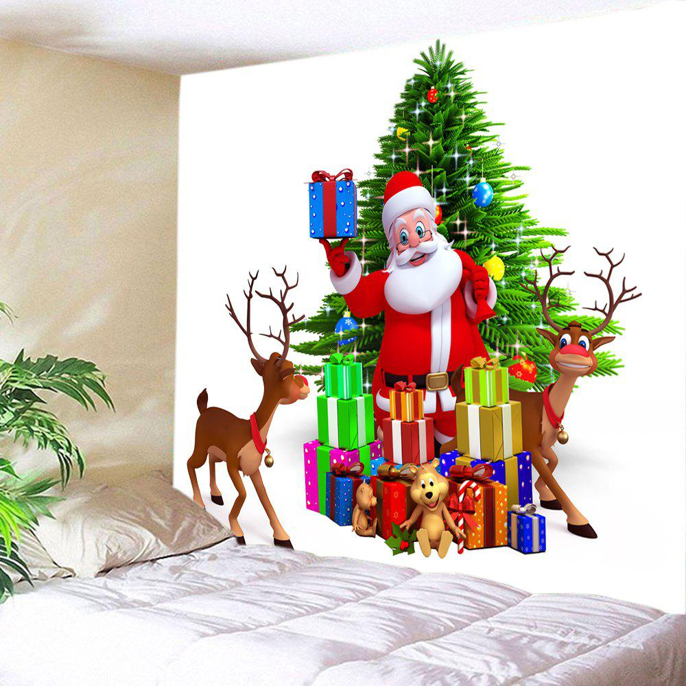 Christmas Tree Santa Gifts Print Tapestry Wall Hanging Art - COLORMIX W79 INCH * L71 INCH