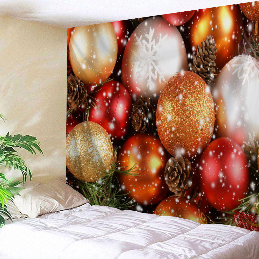 Wall Hanging Christmas Balls Printed Decorative Tapestry - COLORMIX W91 INCH * L71 INCH