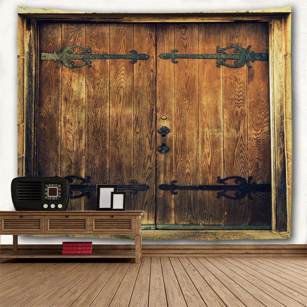 Wall Hanging Nostalgic Wooden Door Pattern Tapestry - BROWN W91 INCH * L71 INCH