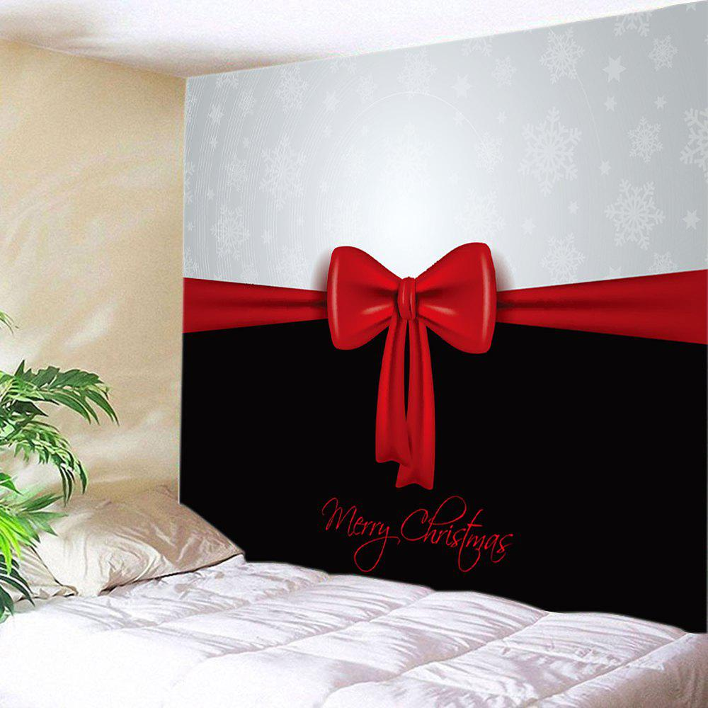 Merry Christmas Bowknot Print Tapestry Wall Hanging Art waterproof merry christmas graphic pattern wall hanging tapestry