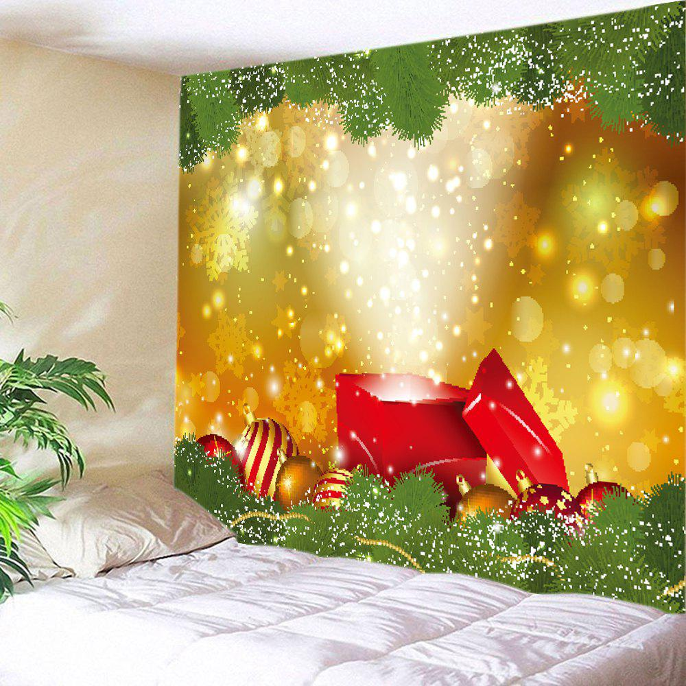 2018 Christmas Gift Baubles Print Tapestry Wall Hanging Decor YELLOW ...