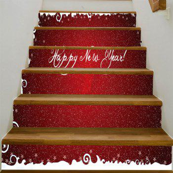 Happy New Year Pattern Stair Stickers - RED 100*18CM*6PCS
