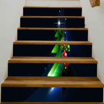 Christmas Tree Balls Pattern Stair Stickers - COLORMIX 100*18CM*6PCS
