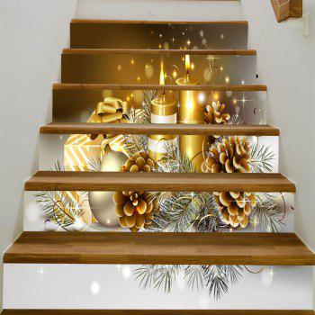 Cartoon Pinecone Christmas Candles Pattern Stair Stickers - GOLDEN 100*18CM*6PCS